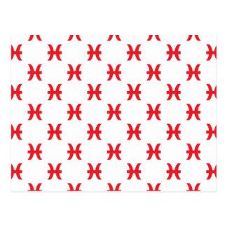 Piscis modelan rojo tarjeta postal