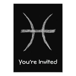 Piscis. Muestra de la astrología del zodiaco. Invitación 12,7 X 17,8 Cm