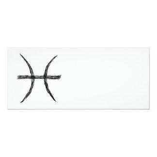 Piscis. Muestra de la astrología del zodiaco. Invitación 10,1 X 23,5 Cm