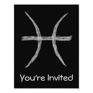 Piscis. Muestra de la astrología del zodiaco. Invitación 10,8 X 13,9 Cm