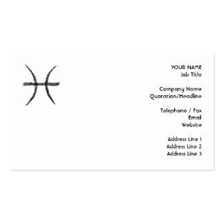 Piscis. Muestra de la astrología del zodiaco. Negr Plantillas De Tarjetas Personales
