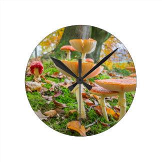 Piso del bosque con agáricos y hojas de mosca en reloj redondo mediano