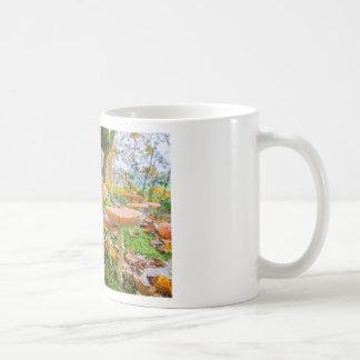 Piso del bosque con agáricos y hojas de mosca en taza de café