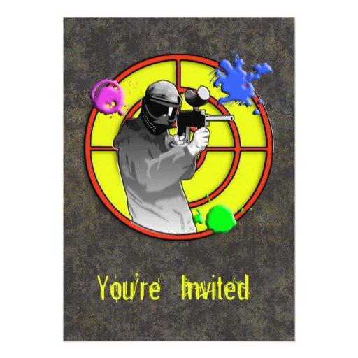 Pistola de neón radiactiva de Paintball Invitación Personalizada