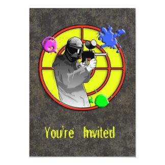 Pistola de neón radiactiva de Paintball Invitación 12,7 X 17,8 Cm