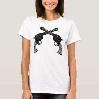 Pistolas cruzadas retras camiseta