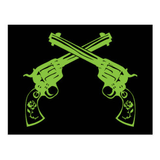 Pistolas retras verdes postal