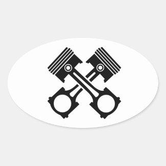 Pistón cruzado colcomanias de ovaladas