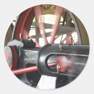 Pistón del motor de vapor etiqueta redonda