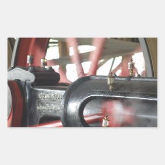 Pistón del motor de vapor pegatina rectangular