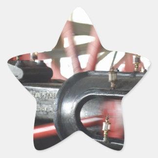 Pistón del motor de vapor pegatina en forma de estrella