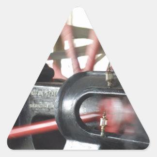 Pistón del motor de vapor pegatina triangular