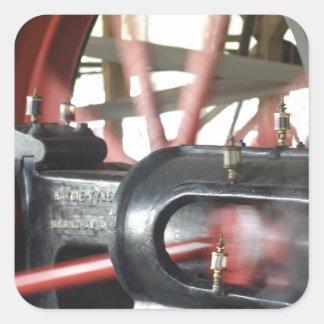 Pistón del motor de vapor pegatina cuadrada