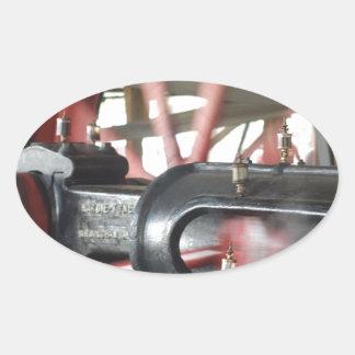 Pistón del motor de vapor pegatina ovalada
