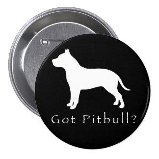 Pitbull conseguido Botón-Negro Chapa Redonda De 7 Cm