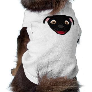 Pitbull negro hace frente camiseta sin mangas para perro
