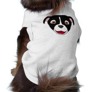 Pitbull negro hace frente con el resplandor blanco camiseta sin mangas para perro
