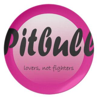 Pitbull: Placa de los combatientes de los amantes  Platos De Comidas