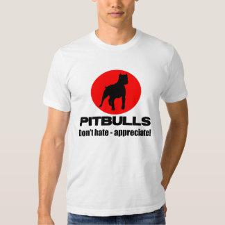 Pitbulls - no odie, no aprecie la camiseta
