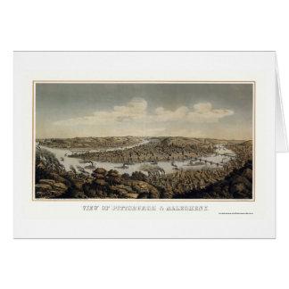 Pittsburgh, mapa panorámico del PA - 1874 Tarjeta De Felicitación