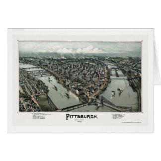 Pittsburgh, mapa panorámico del PA - 1902 Tarjeta De Felicitación