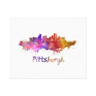 Pittsburgh skyline in watercolor impresión en lienzo