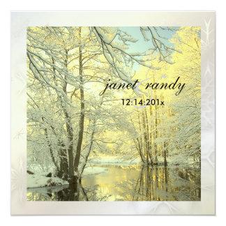 PixDezines en las maderas, boda del invierno Invitación 13,3 Cm X 13,3cm