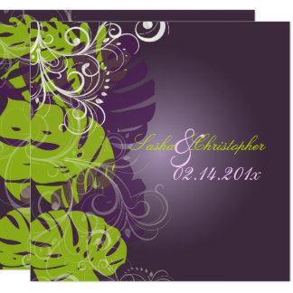 PixDezines MONSTERA+REMOLINOS PÚRPURAS+VERDE Invitación 13,3 Cm X 13,3cm