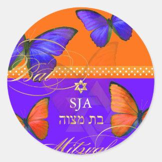 PixDezines Papillon, palo retro Mitzvah Pegatina Redonda