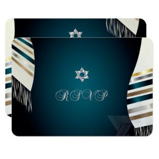 PixDezines RSVP Mitzvah/fondo verde azulado de Invitación 8,9 X 12,7 Cm
