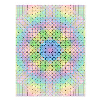 Pixeles en colores pastel postal