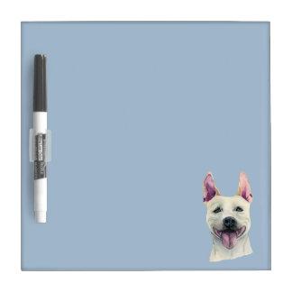 Pizarra Blanca Acuarela blanca del perro de Staffordshire bull