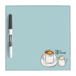 Pizarra Blanca Acuarela del descanso para tomar café y ejemplo de