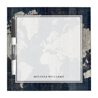 Pizarra Blanca Azul del mapa de Viejo Mundo