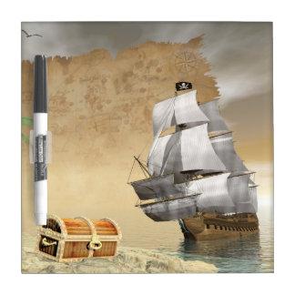 Pizarra Blanca Barco pirata que encuentra el tesoro - 3D rinden