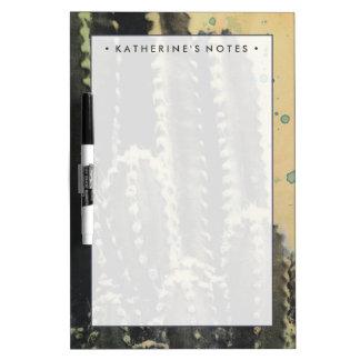 Pizarra Blanca Cactus verde en fondo amarillo
