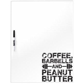 Pizarra Blanca Café, Barbells y mantequilla de cacahuete -