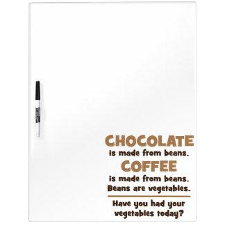 Pizarra Blanca Chocolate, café, habas, verduras - novedad