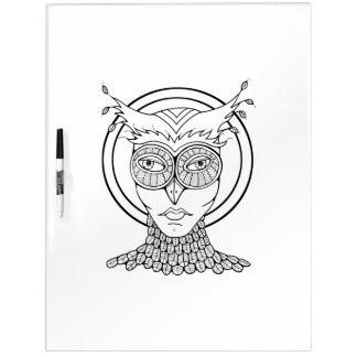 Pizarra Blanca Colorante adulto del búho de la mascarada