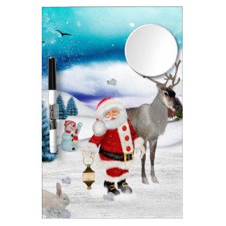 Pizarra Blanca Con Espejo Papá Noel divertido