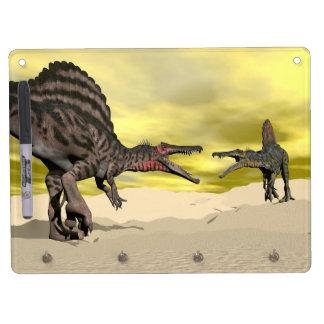 Pizarra Blanca Con Ganchos Para Llaves Lucha del dinosaurio de Spinosaurus - 3D rinden