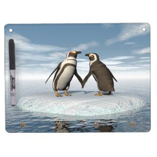 Pizarra Blanca Con Ganchos Para Llaves Pares de los pingüinos