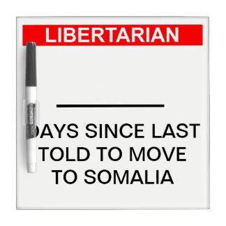 Pizarra Blanca Contador libertario del día de Somalia