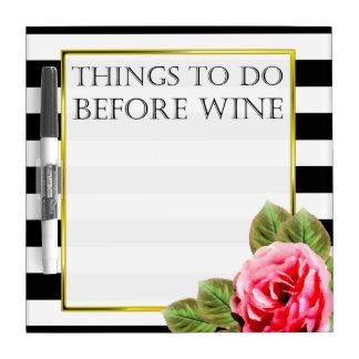 Pizarra Blanca Cosas divertidas a hacer antes de vino