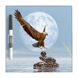 Pizarra Blanca Eagle que aterriza en piedras equilibradas - 3D