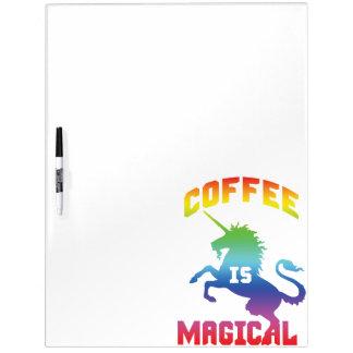 Pizarra Blanca El café es mágico - unicornio divertido del