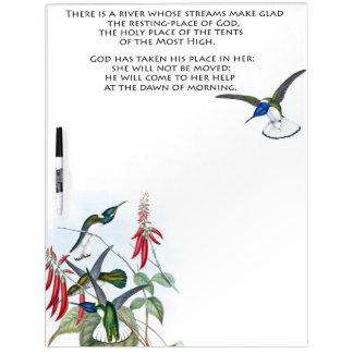 Pizarra Blanca El colibrí de la biblia de los salmos 46 floral