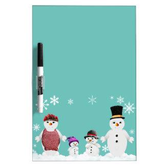 Pizarra Blanca familia del muñeco de nieve