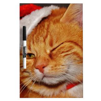 Pizarra Blanca Gato anaranjado - gato de Papá Noel - Felices
