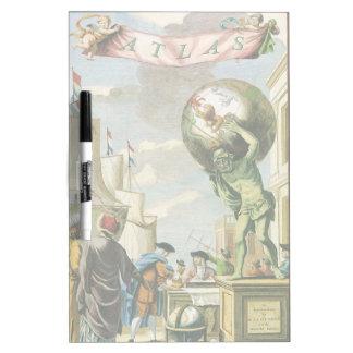 Pizarra Blanca Globo barroco del mundo del Frontispiece del atlas